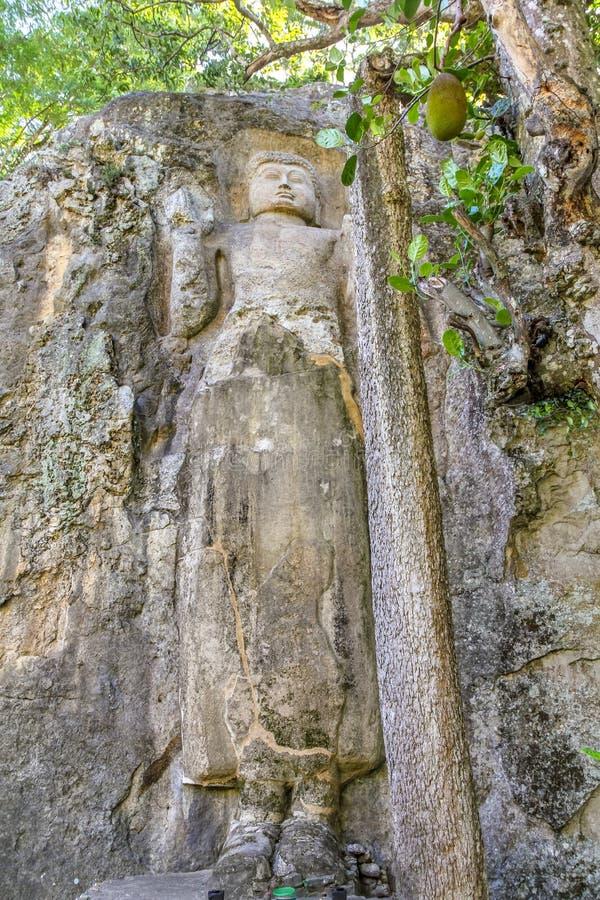 Βούδας γλυπτός στο βράχο στη Σρι Λάνκα στοκ εικόνες