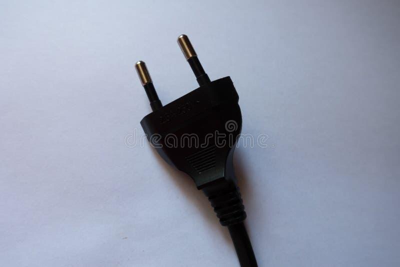 Βούλωμα δύναμης εναλλασσόμενου ρεύματος, επίπεδη στρογγυλός-καρφίτσα Europlug δύο πόλων στοκ εικόνες