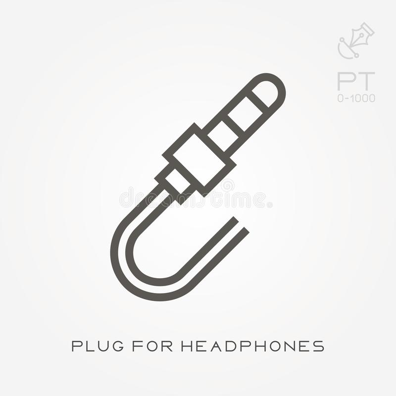 Βούλωμα εικονιδίων γραμμών για τα ακουστικά απεικόνιση αποθεμάτων