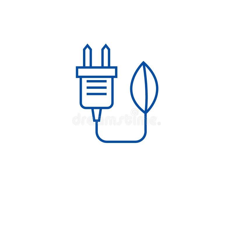 Βούλωμα Eco, έννοια εικονιδίων γραμμών ανανεώσιμης ενέργειας Βούλωμα Eco, επίπεδο διανυσματικό σύμβολο ανανεώσιμης ενέργειας, σημ απεικόνιση αποθεμάτων