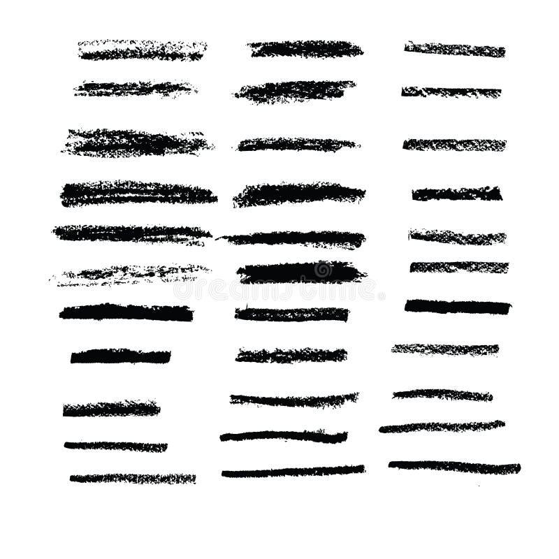 Βούρτσα τέχνης στην κρητιδογραφία 33 κιμωλίας βούρτσες καθορισμένες διανυσματική απεικόνιση