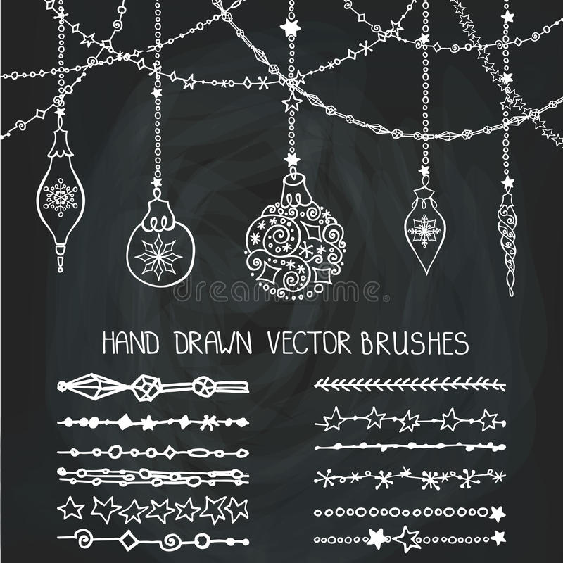 Βούρτσες γιρλαντών Χριστουγέννων, σφαίρες chalkboard απεικόνιση αποθεμάτων