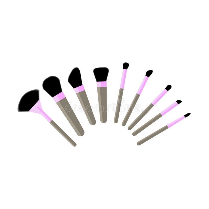Βούρτσες MakeUp καθορισμένες διανυσματική απεικόνιση