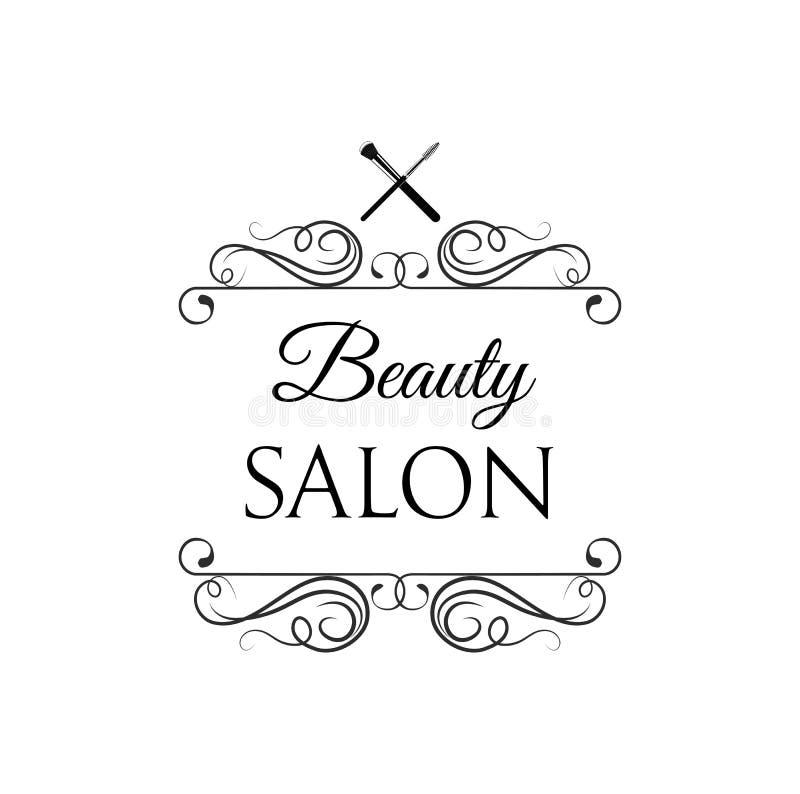 Βούρτσες Makeup Λογότυπο σαλονιών ομορφιάς, σαλόνι ομορφιάς στρόβιλοι επίσης corel σύρετε το διάνυσμα απεικόνισης ελεύθερη απεικόνιση δικαιώματος