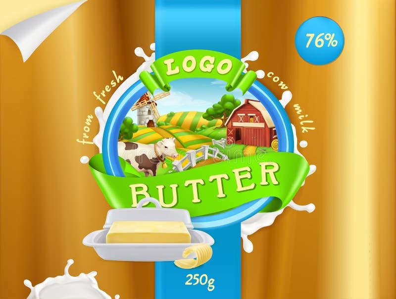 Βούτυρο, αγρόκτημα γάλακτος τρισδιάστατο διάνυσμα, σχέδιο συσκευασίας απεικόνιση αποθεμάτων