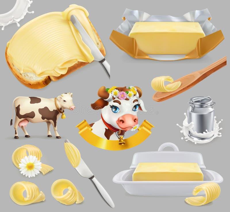 Βούτυρο Αγρόκτημα γάλακτος τρισδιάστατο διανυσματικό σύνολο εικονιδίων διανυσματική απεικόνιση