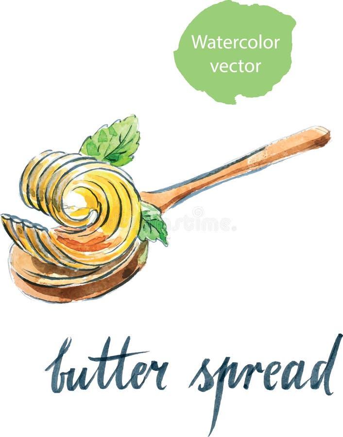 Βούτυρο που διαδίδεται στο κουτάλι με τα φύλλα μεντών απεικόνιση αποθεμάτων