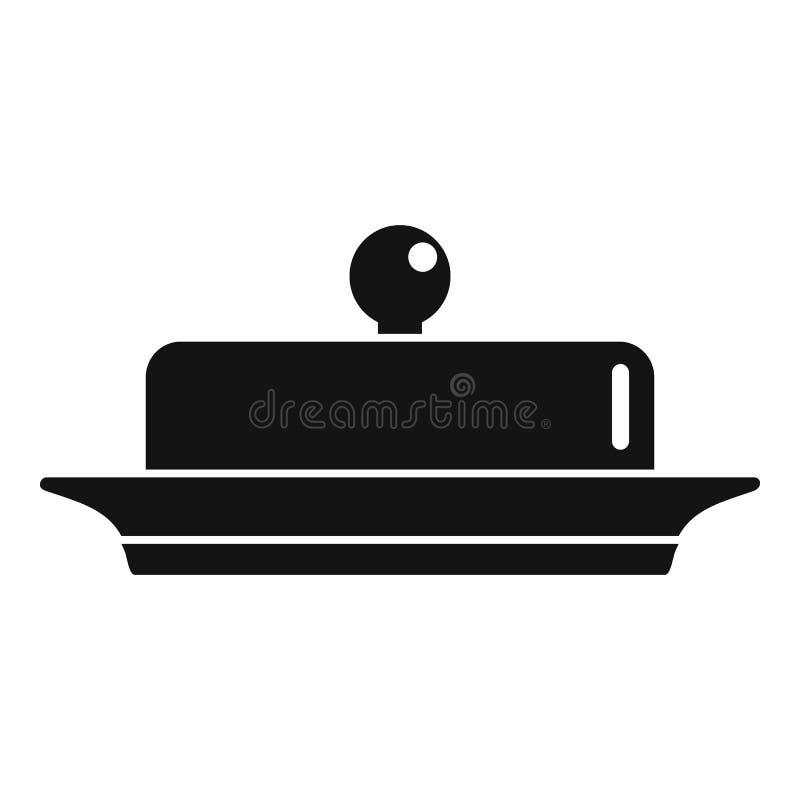 Βούτυρο στο εικονίδιο πιάτων, απλό ύφος ελεύθερη απεικόνιση δικαιώματος