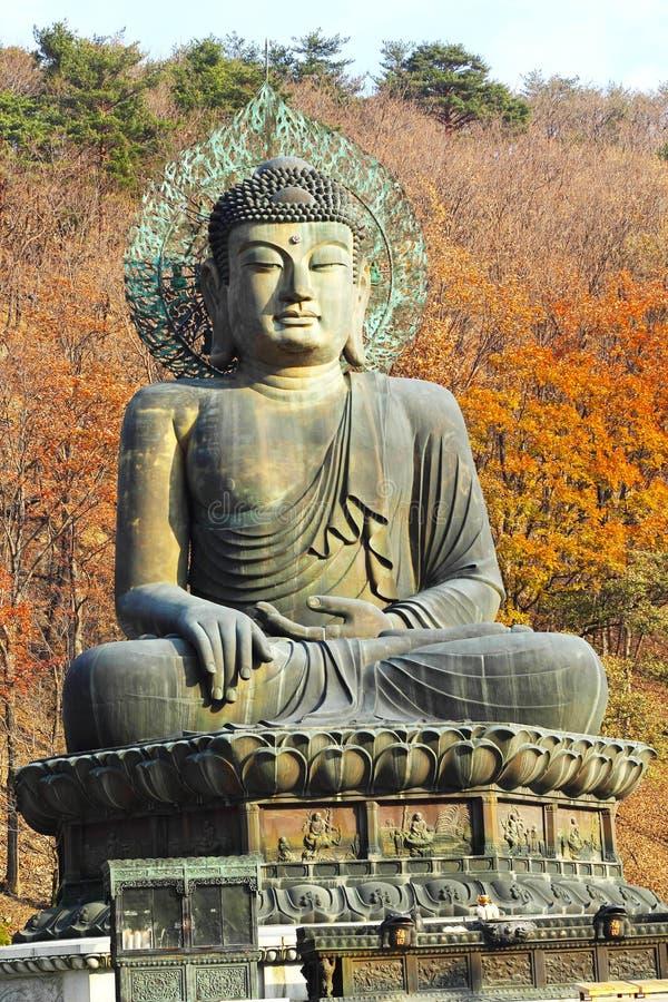Βούδας στο ναό Sinheungsa στο εθνικό πάρκο Seoraksan, Sout στοκ εικόνα με δικαίωμα ελεύθερης χρήσης