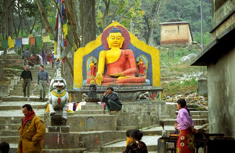 Βούδας, Swayambunath, Νεπάλ στοκ εικόνες
