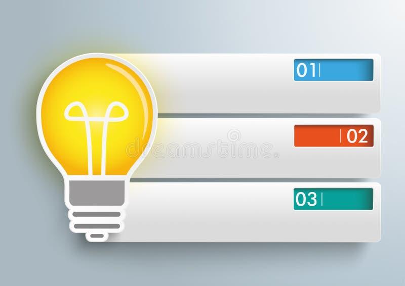 Βολβός 3 εμβλήματα Infographic ορθογωνίων ελεύθερη απεικόνιση δικαιώματος