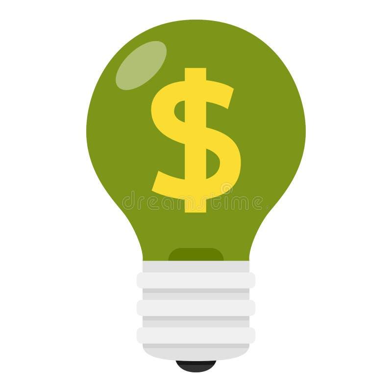 Βολβός πράσινου φωτός με το επίπεδο εικονίδιο σημαδιών δολαρίων ελεύθερη απεικόνιση δικαιώματος