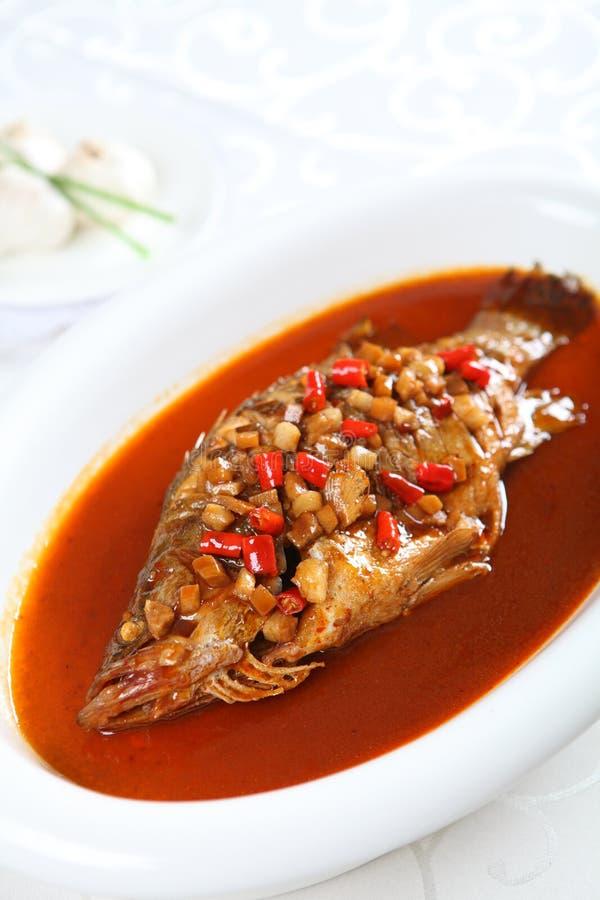 Βράσιμο στον ατμό των κινεζικών τροφίμων, ψάρια στοκ φωτογραφία