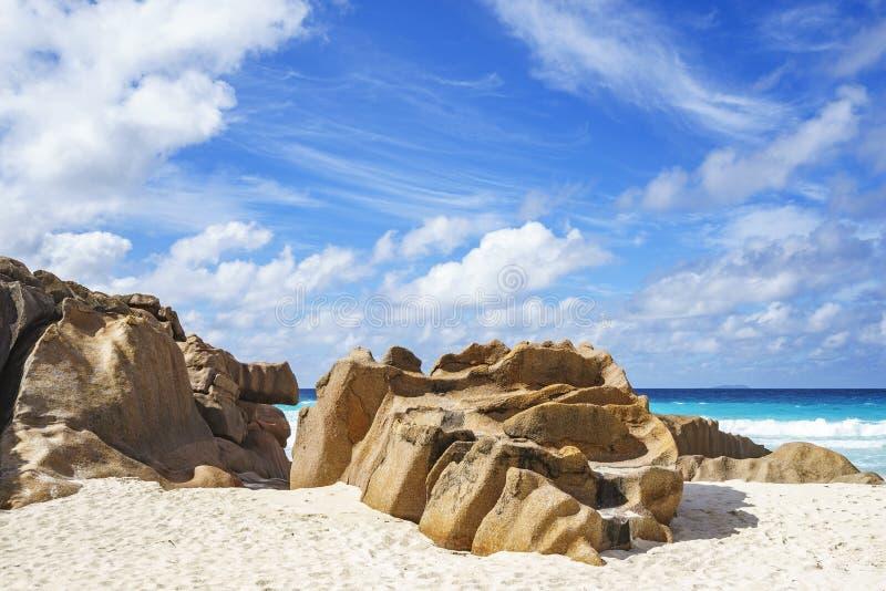 Βράχοι γρανίτη στην παραλία των Σεϋχελλών, λεπτοκαμωμένο anse, Λα digue 3 στοκ εικόνες με δικαίωμα ελεύθερης χρήσης