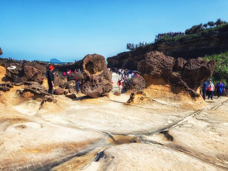 Βράχοι μανιταριών σε Yehliu Geopark, βόρεια Ταϊβάν στοκ φωτογραφία με δικαίωμα ελεύθερης χρήσης