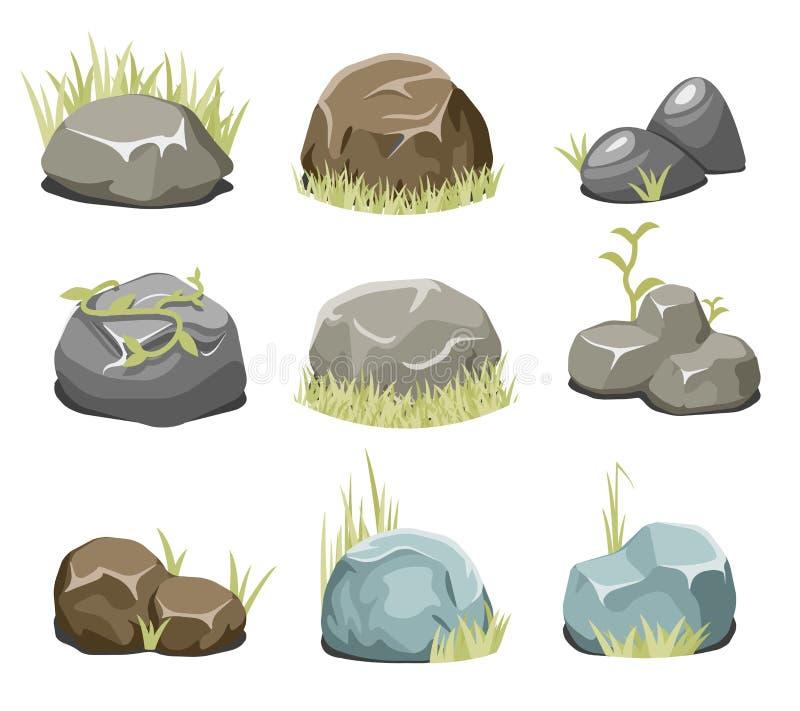 Βράχοι με τη χλόη, τις πέτρες και την πράσινη χλόη στο λευκό διανυσματική απεικόνιση