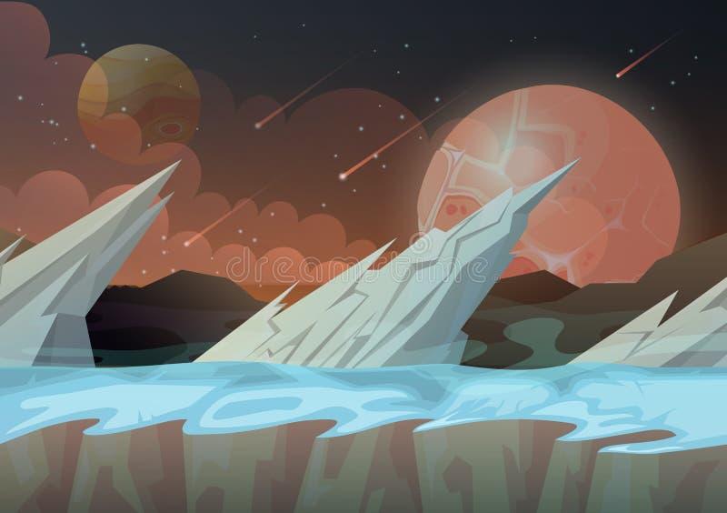 Βράχοι πάγου στο τοπίο πλανητών γαλαξιών διανυσματική απεικόνιση