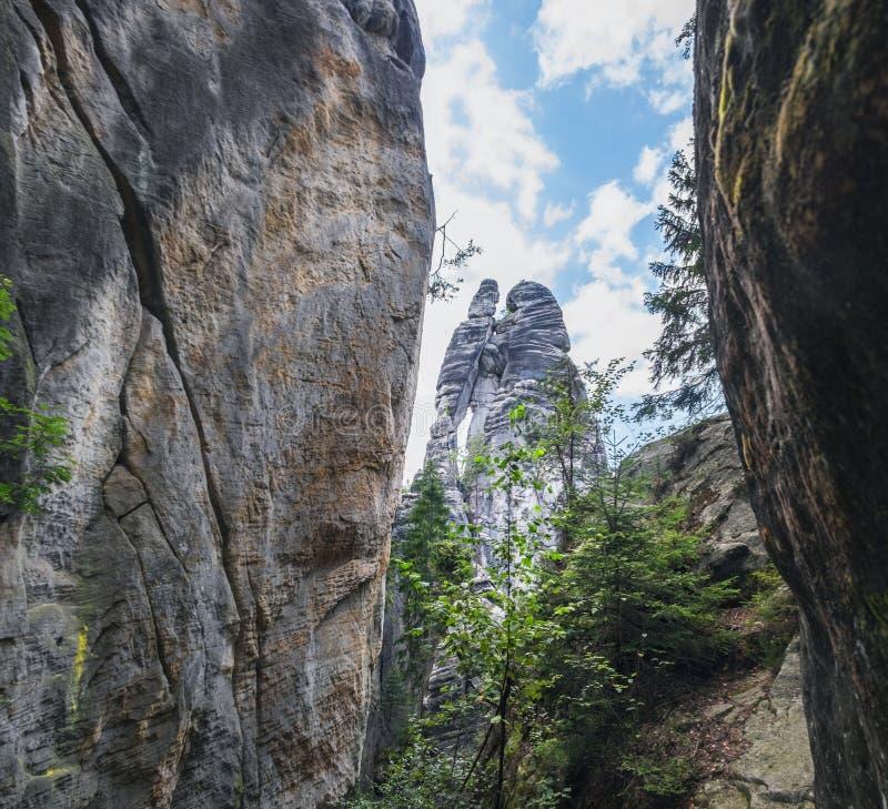 Βράχοι Adrspach εραστών, Δημοκρατία της Τσεχίας στοκ φωτογραφία με δικαίωμα ελεύθερης χρήσης