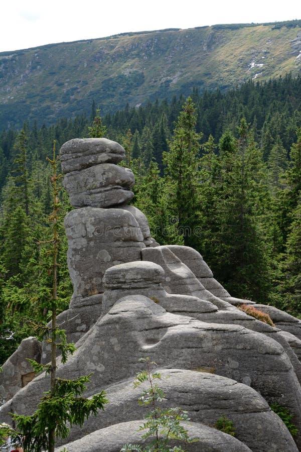 Βράχοι Pielgrzymy στα βουνά Karkonosze στοκ φωτογραφία
