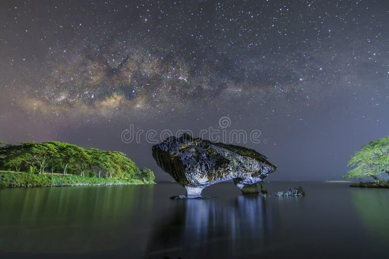 Βράχος αγελάδων και το MilkyWay στοκ εικόνα
