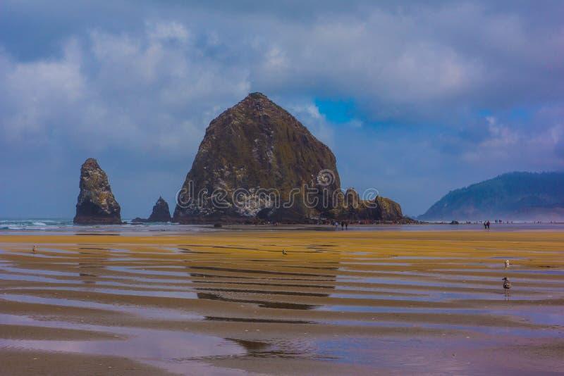 Βράχος θυμωνιών χόρτου που απεικονίζει στην υγρή άμμο at Low Tide στοκ φωτογραφία