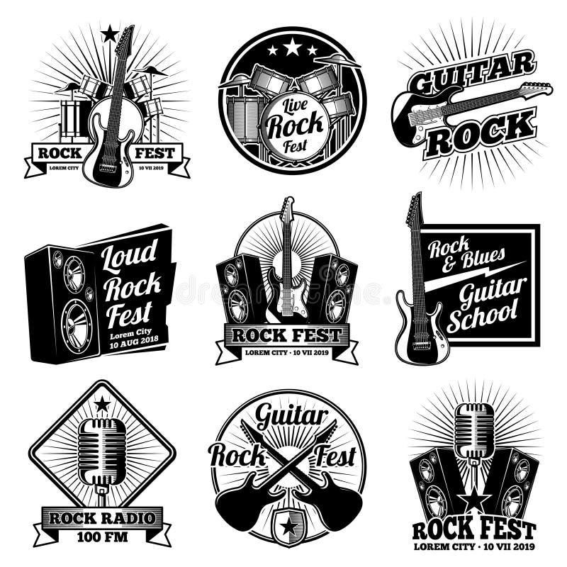 Βράχος - και - διανυσματικές ετικέτες μουσικής ρόλων Εκλεκτής ποιότητας εμβλήματα βαρύ μετάλλου καθορισμένα ελεύθερη απεικόνιση δικαιώματος