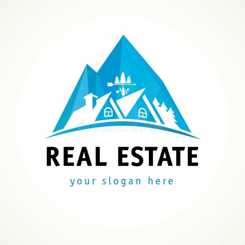 Βράχος λογότυπων ακίνητων περιουσιών διανυσματική απεικόνιση