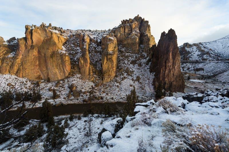 Βράχος Smith στο Όρεγκον στο χειμερινό πρωί στοκ εικόνες με δικαίωμα ελεύθερης χρήσης