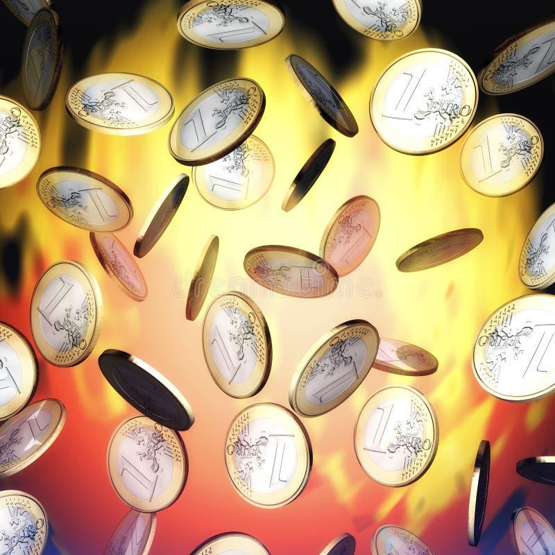 Βρέχοντας ευρώ διανυσματική απεικόνιση
