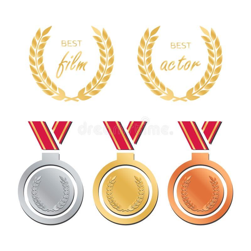 Βραβεία για την καλύτερη ταινία Διορισμός βραβείων Βραβείο μεταλλίων για το β διανυσματική απεικόνιση