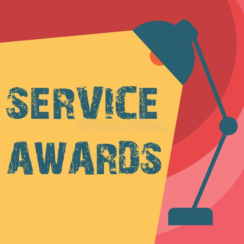 Βραβεία υπηρεσιών γραψίματος κειμένων γραφής Έννοια που σημαίνει αναγνωρίζοντας έναν υπάλληλο για τη μακροζωία ή τη διάρκεια αξιώ στοκ εικόνες