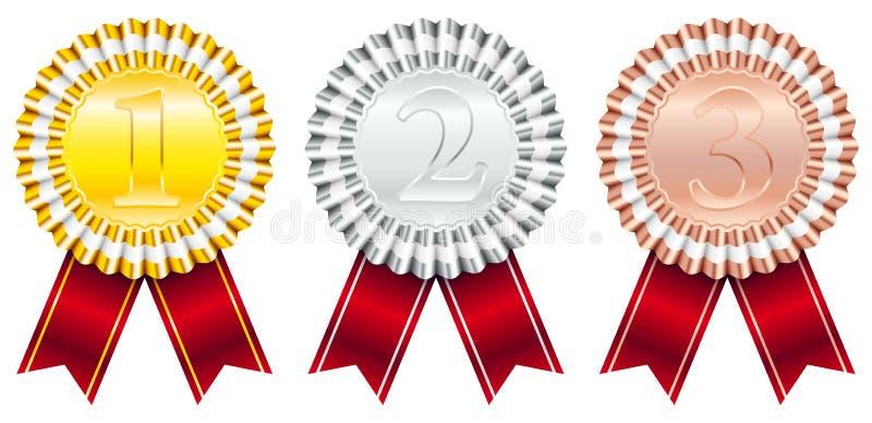 Βραβεία Badges Red Ribbon Μικρή λωρίδα 1-Χρυσό 2-Ασημί 3-Χάλκινο απεικόνιση αποθεμάτων
