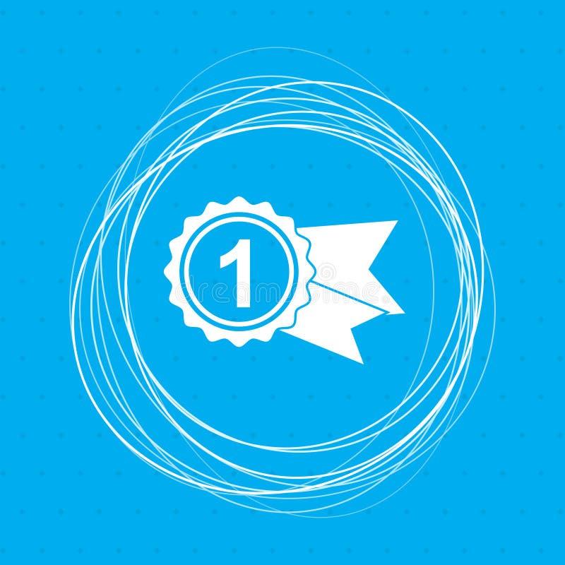 Βραβείο, διακριτικό με το εικονίδιο κορδελλών αφηρημένους κύκλους ενός στους μπλε υποβάθρου γύρω από και τη θέση για το κείμενό σ απεικόνιση αποθεμάτων