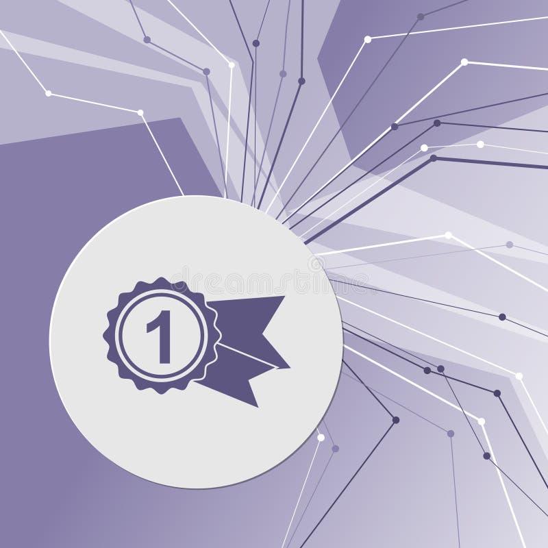 Βραβείο, διακριτικό με το εικονίδιο κορδελλών στο πορφυρό αφηρημένο σύγχρονο υπόβαθρο Οι γραμμές προς όλες τις κατευθύνσεις δωμάτ διανυσματική απεικόνιση