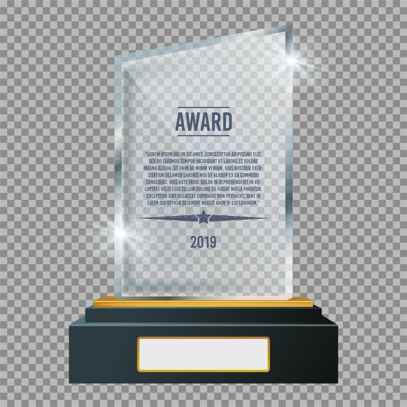 Βραβείο πινακίδων τροπαίων γυαλιού Στιλπνό διαφανές βραβείο r στοκ εικόνες