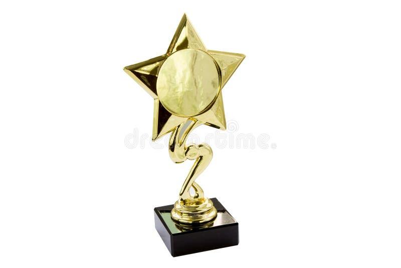 Βραβείο που απομονώνεται χρυσό στοκ φωτογραφία