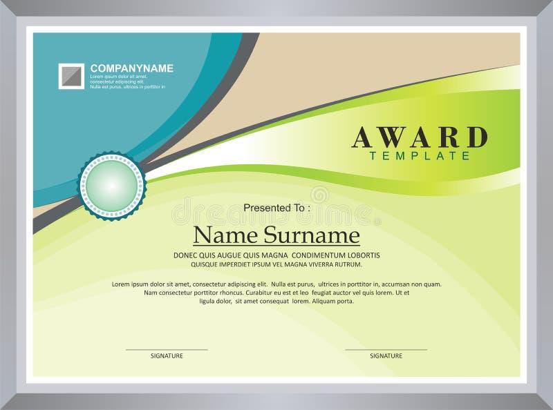 Βραβείο - πρότυπο διπλωμάτων απεικόνιση αποθεμάτων
