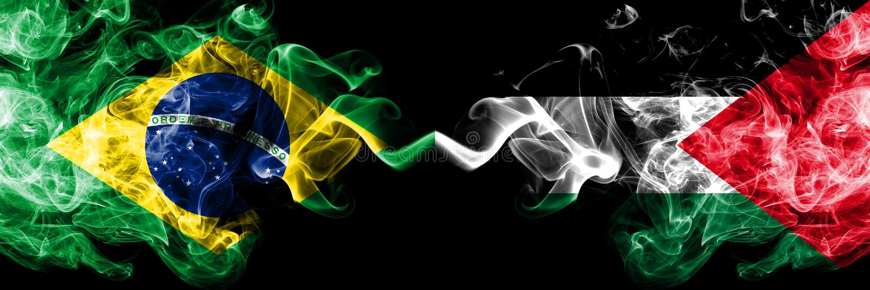 Βραζιλία εναντίον της Παλαιστίνης, παλαιστινιακές σημαίες καπνού που  ελεύθερη απεικόνιση δικαιώματος