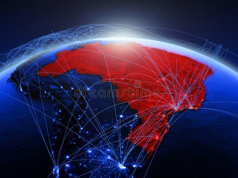 Βραζιλία στον μπλε ψηφιακό πλανήτη Γη με το διεθνές δίκτυο που αντιπροσωπεύει την επικοινωνία, το ταξίδι και τις συνδέσεις τρισδι ελεύθερη απεικόνιση δικαιώματος