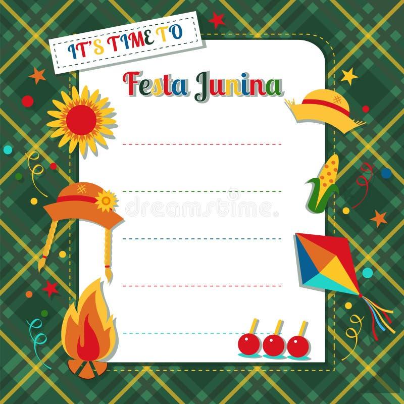 Βραζιλιάνες καλοκαιρινές διακοπές Junina Festa διανυσματική απεικόνιση