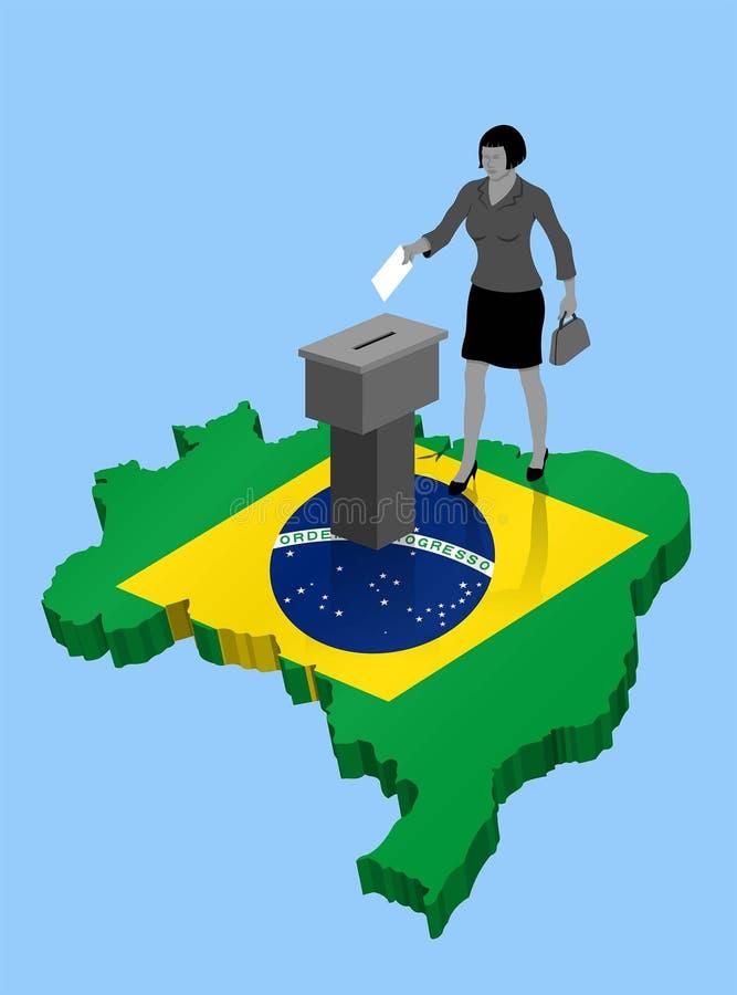 Βραζιλιάνος πολίτης που ψηφίζει για την εκλογή της Βραζιλίας πέρα από έναν τρισδιάστατο χάρτη διανυσματική απεικόνιση