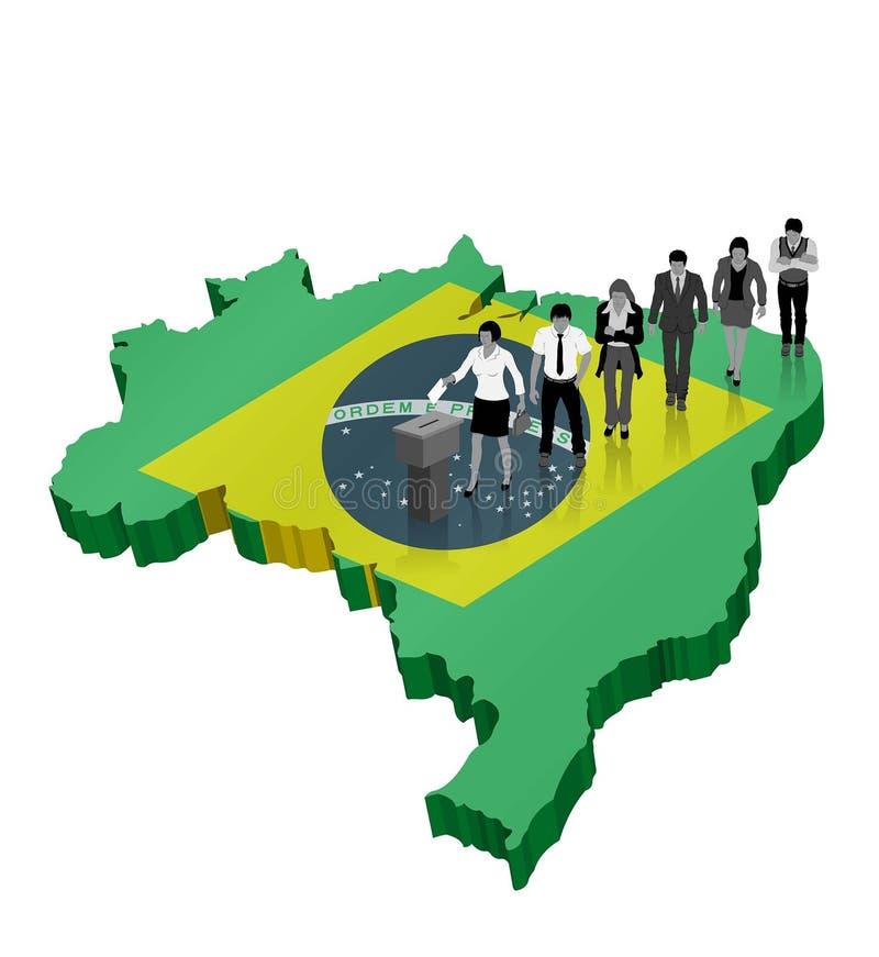 Βραζιλιάνος πολίτης που ψηφίζει για το δημοψήφισμα της Βραζιλίας πέρα από έναν τρισδιάστατο χάρτη ελεύθερη απεικόνιση δικαιώματος