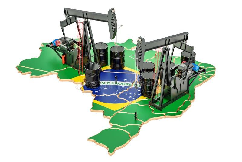 Βραζιλιάνος χάρτης με τα βαρέλια πετρελαίου και pumpjacks Παραγωγή πετρελαίου con απεικόνιση αποθεμάτων