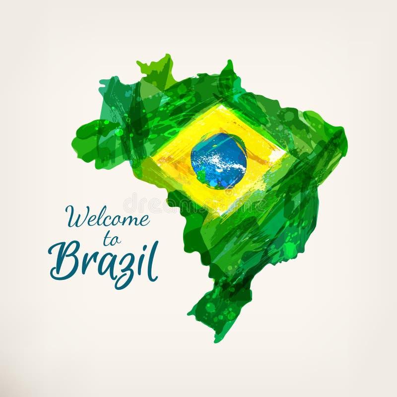 Βραζιλιάνος χάρτης Watercolor απεικόνιση αποθεμάτων