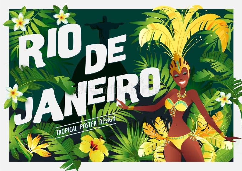 Βραζιλιάνος χορευτής samba Καρναβάλι στα κορίτσια Ρίο ντε Τζανέιρο που φορούν ένα κοστούμι φεστιβάλ χορεύει επίσης corel σύρετε τ διανυσματική απεικόνιση