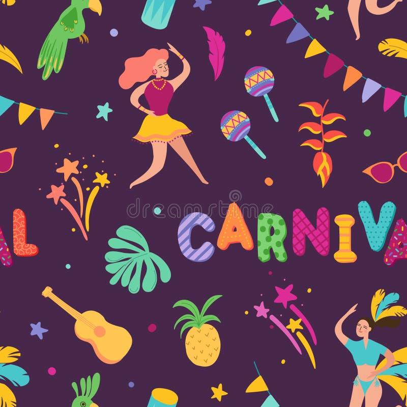 Βραζιλιάνο άνευ ραφής σχέδιο καρναβαλιού Χαρακτήρες καρναβάλι χορευτών της Βραζιλίας Samba Φεστιβάλ Ρίο ντε Τζανέιρο με τα κορίτσ διανυσματική απεικόνιση