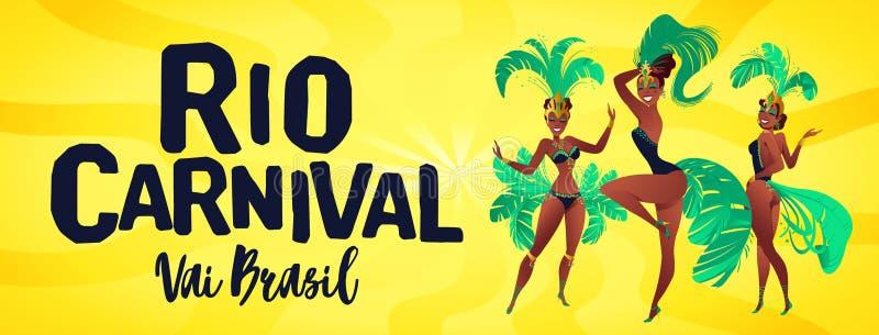 Βραζιλιάνο έμβλημα samba Καρναβάλι στους χορευτές Ρίο ντε Τζανέιρο που φορούν ένα κοστούμι φεστιβάλ χορεύει επίσης corel σύρετε τ ελεύθερη απεικόνιση δικαιώματος