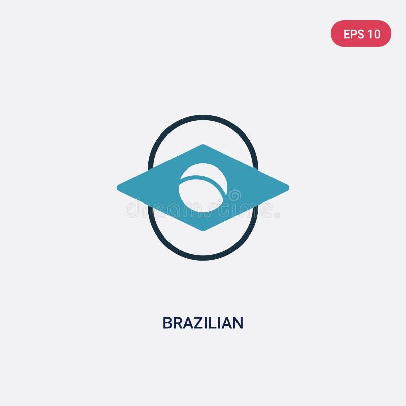 Βραζιλιάνο διανυσματικό εικονίδιο δύο χρώματος από την αθλητική έννοια το απομονωμένο μπλε βραζιλιάνο διανυσματικό σύμβολο σημαδι ελεύθερη απεικόνιση δικαιώματος