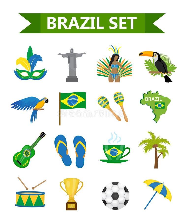 Βραζιλιάνο επίπεδο ύφος εικονιδίων καρναβαλιού Τουρισμός ταξιδιού χωρών της Βραζιλίας Συλλογή των στοιχείων σχεδίου, σύμβολα πολι διανυσματική απεικόνιση