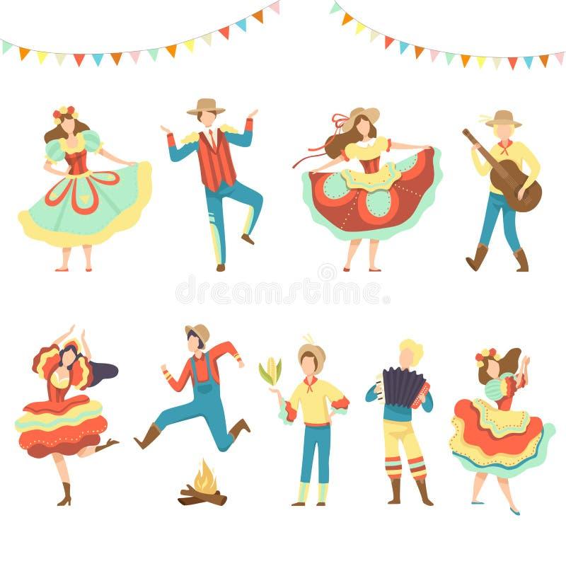 Βραζιλιάνο κόμμα Festa Junina, ευτυχείς άνδρες και γυναίκες που χορεύουν στη λατινική διανυσματική απεικόνιση φεστιβάλ διακοπών διανυσματική απεικόνιση
